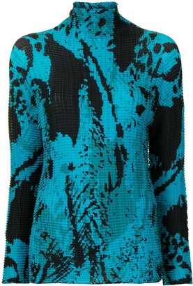 Issey Miyake Pre-Owned Abstract Print High-Neck Top