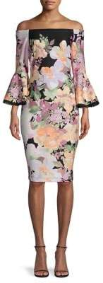 Gabby Skye Floral-Print Off-The-Shoulder Sheath Dress