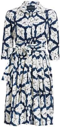 Samantha Sung Regular-Fit Graphic Print Tie-Waist Shirtdress