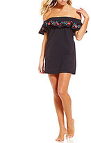 Kenneth Cole Reaction Garden Groove Embroidered Off-The-Shoulder Dress Cover-Up
