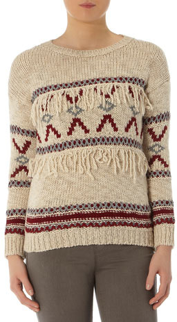 Dorothy Perkins Neutral navajo tassel jumper