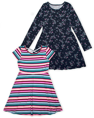 Aeropostale p.s. from Girls' Casual Dresses LTBLU - Light Blue & Pink Stripe A-Line Dress & Blue Floral A-Line Dress - Toddler & Girls