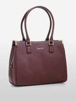 Calvin Klein Textured Saffiano Leather Triple Compartment Tote Bag
