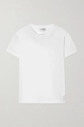Saint Laurent Essentials Appliqued Cotton-jersey T-shirt