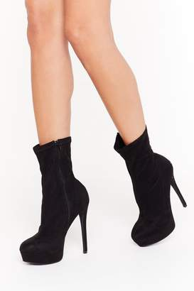 Nasty Gal Womens Raise the Bar Faux Suede Stiletto Boots - black - 5
