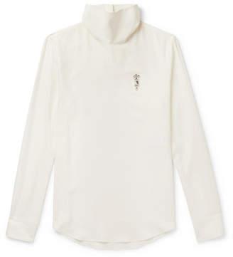 Alexander McQueen Slim-Fit Embellished Silk-Poplin Rollneck Shirt