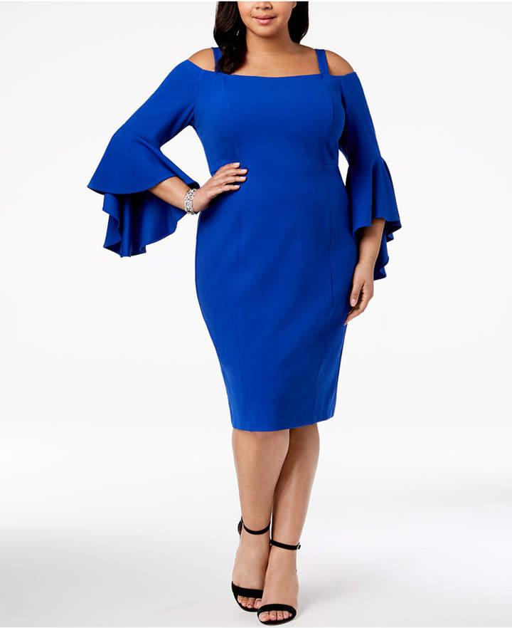 Plus Size Off-The-Shoulder Flared-Sleeve Dress