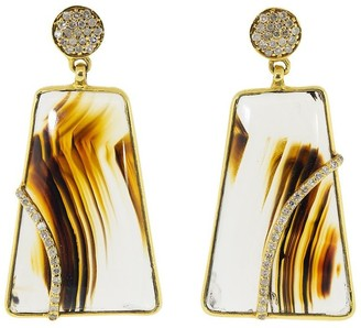 GUITA M 18kt Yellow Gold Diamond Agate Drop Earrings