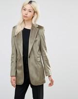 Helene Berman Longline Blazer in Textured Khaki