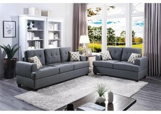 Overstock Bobkona Caine Bonded Leather and Plush Microfiber 2-Piece Sofa and Loveseat Set