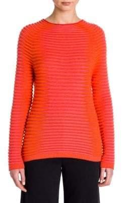 Giorgio Armani Cashmere & Silk Ribbed Two-Tone Sweater