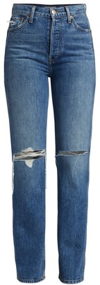 RE/DONE High-Rise Distressed Loose Slim Jeans