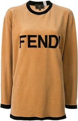 Fendi Pre Owned velvet effect logo T-shirt