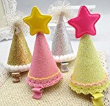 Cuhair(tm) 4pcs New year Christmas hat with star design hair clip barrettes Accessories for Girl Teens Baby Toddlers Gift