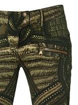 Balmain Printed Stretch Cotton Denim Jeans