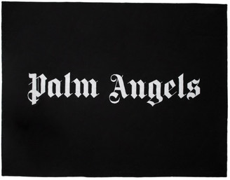 Palm Angels Black Logo Beach Towel