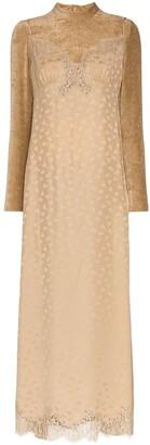 Stella McCartney High Neck Lace Velvet Silk Blend Dress