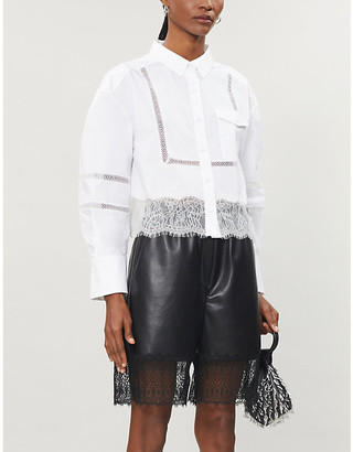 Self-Portrait Embroidered and lace-trimmed cotton-poplin shirt