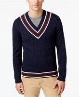 Tommy Hilfiger Men's V-Neck Cable-Knit Cotton Sweater