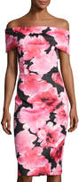 Neiman Marcus Off-the-Shoulder Rose-Print Scuba Sheath Dress, Pink Pattern