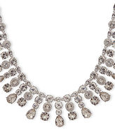 Givenchy White Metal and Glass Stone Imitation Rhodium Drama Collar Necklace