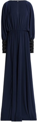 Amanda Wakeley Cold-shoulder Embellished Cady Gown