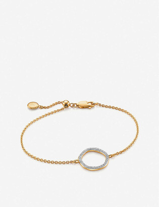 Monica Vinader Riva Circle 18ct yellow-gold vermeil pave diamond bracelet