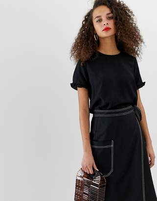 Pieces Dori frill sleeve top-Black