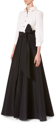 Carolina Herrera Icon Two-Tone Trench Gown