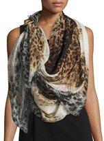 Alexander McQueen Leopard-Print Silk Scarf, Brown/Gray