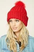 Forever 21 Ribbed Knit Pom-Pom Beanie