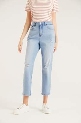 F&F Womens Girlfriend Mid Wash Jeans - Blue