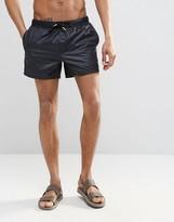 Asos Swim Shorts In Black Wet Look Fabric In Short Length