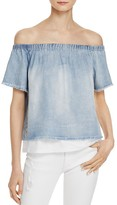 Generation Love Off-the-Shoulder Chambray Layered Top