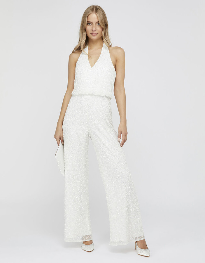 Under Armour Diana Bridal Embellished Halter Jumpsuit Ivory