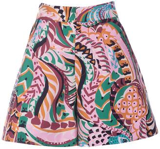 La DoubleJ Women's Good Butt Printed Silk Wide-Leg Shorts - Print - Moda Operandi