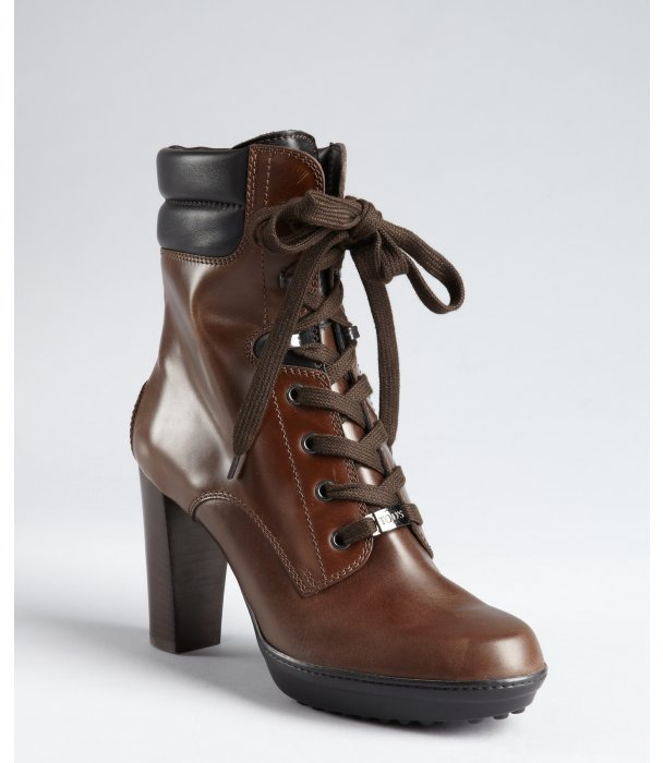 Tod's chocolate and black leather lace-up platform boots