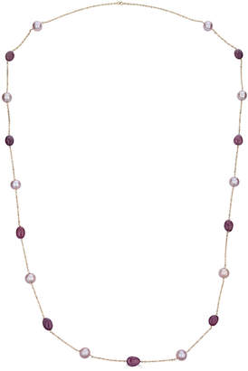 BELPEARL Modern Chic Pink Kasumiga Pearl & Pink Sapphire Necklace