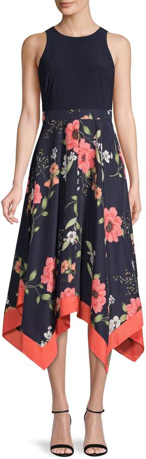 Vince Camuto Floral-Print Fit--Flare Dress