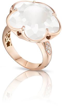 Pasquale Bruni Bon Ton White Quartz & Diamond Ring in 18K Rose Gold, Size 6.5