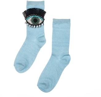 Laines London Powder Blue Glitter Socks With Crystal Eyelash Brooch