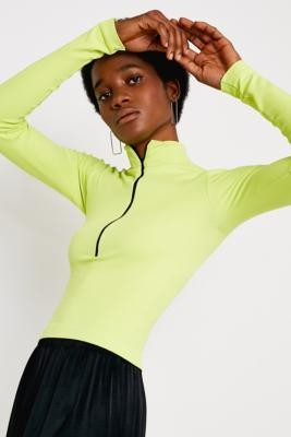 Urban Outfitters Lime Baby Rib Half-Zip Funnel Neck Top - green XS at