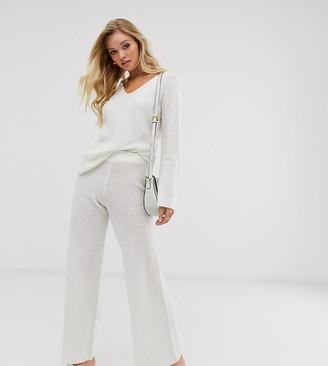 Micha Lounge Luxe wide leg pants in fine wool blend knit two-piece-White