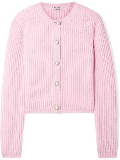 Miu Miu Embellished Ribbed Cashmere Cardigan - Baby pink