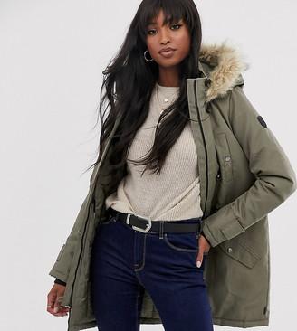Vero Moda Tall faux fur hooded parka-Green
