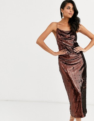Asos Design DESIGN cowl neck all over sequin midi cami dress-Brown
