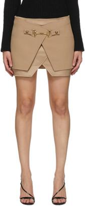 Balmain Beige Crepe and Satin Miniskirt