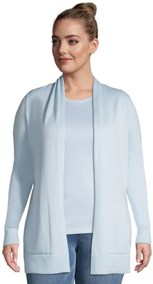 Lands' End Plus Size Draped Open-Front Long Cardigan Sweater
