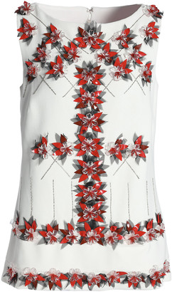 Carolina Herrera Embellished Floral-appliqued Woven Tunic