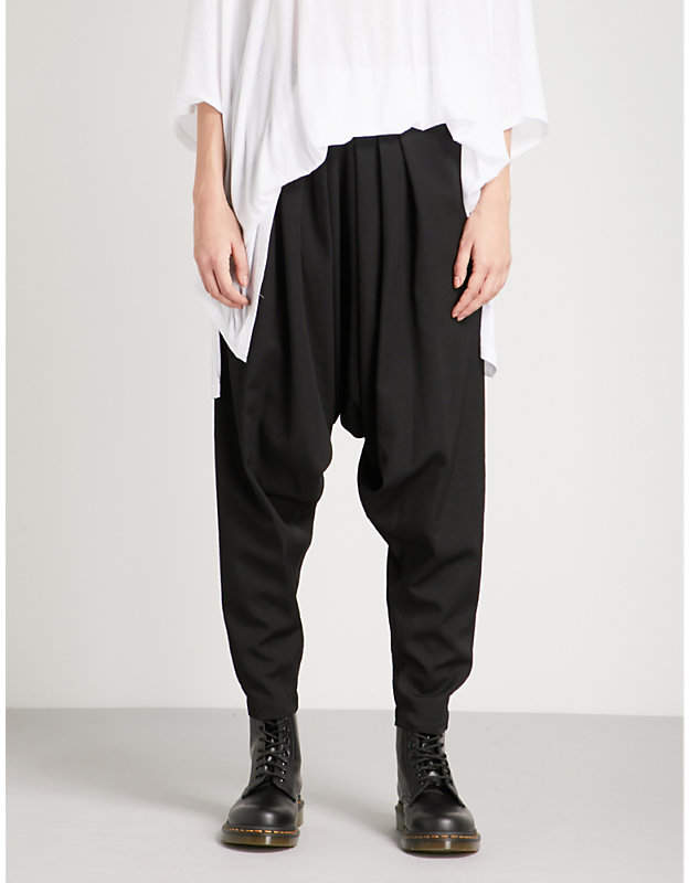 Y's Ys Pleated dropped-crotch wool trousers